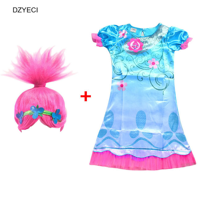 Trolls Costume For Girl Dress Carnival Clothes Teenager Kid Poppy Frock 2017 Children Cosplay Wig Deguisement Elza 10 11 12 Year