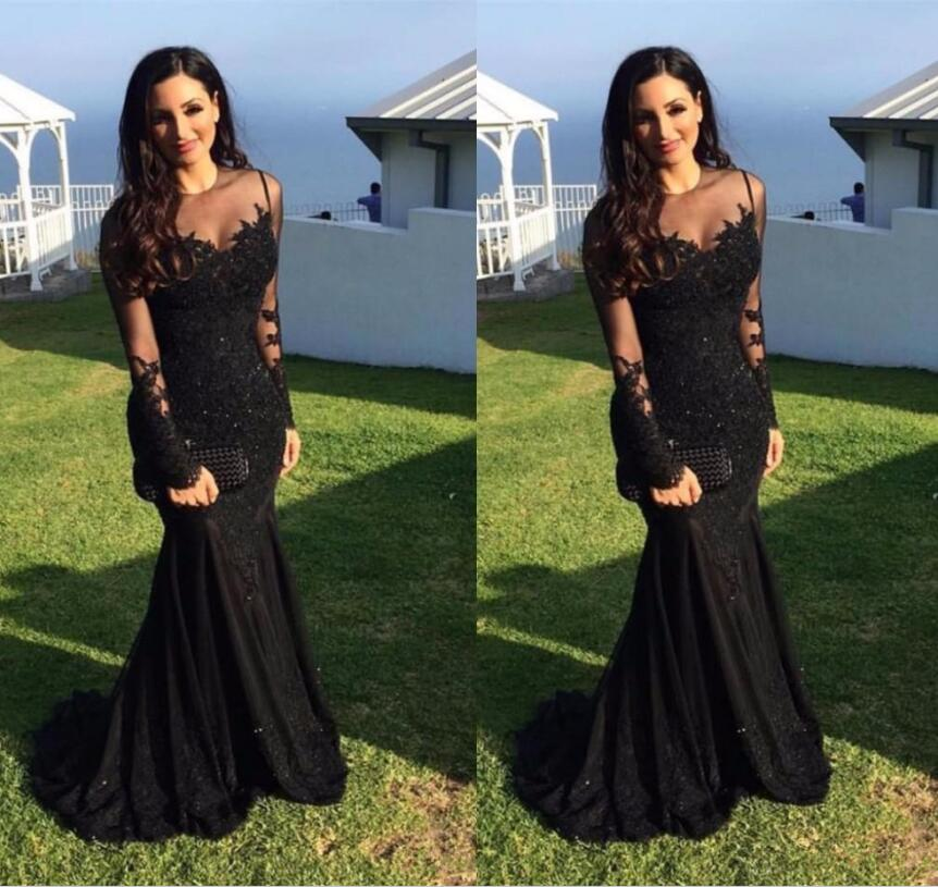 Black Muslim   Evening     Dresses   2019 Mermaid Long Sleeves Appliques Lace Beaded Islamic Dubai Saudi Arabic Long Formal   Evening   Gown