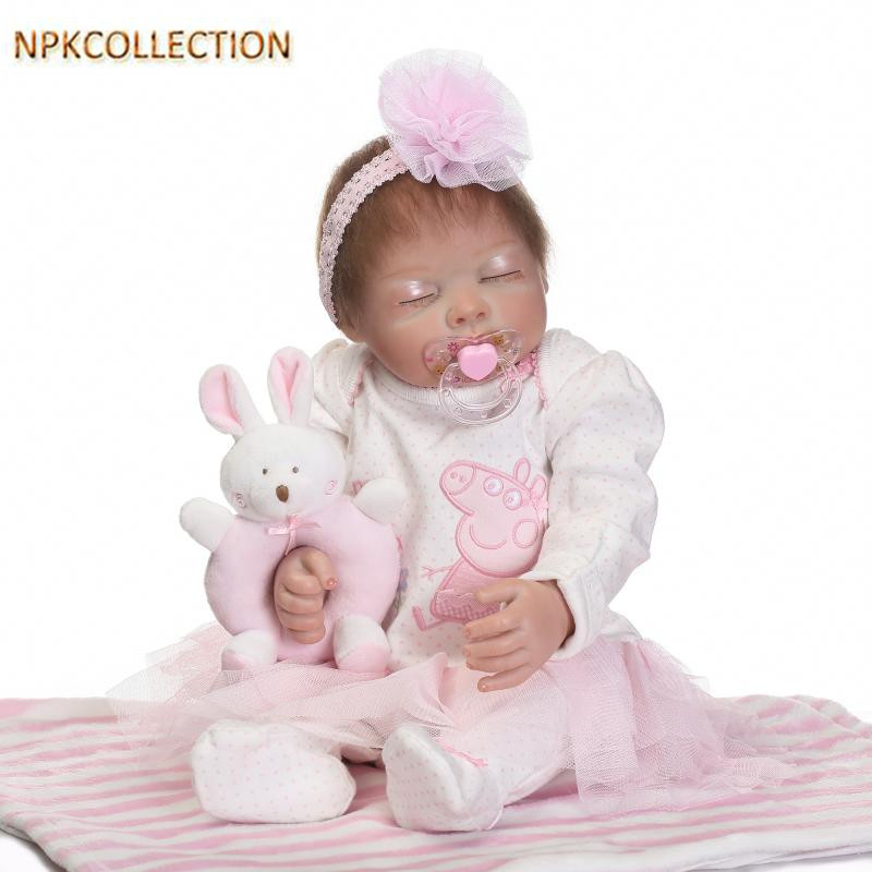 NPKCOLLECTION 45CM Full Body Silicone Dolls Babies Bonecas Realistic Baby Born Doll Girl Toys for Christmas/New Year's Toy Gifts hot sale toys 45cm pelucia hello kitty dolls toys for children girl gift baby toys plush classic toys brinquedos valentine gifts