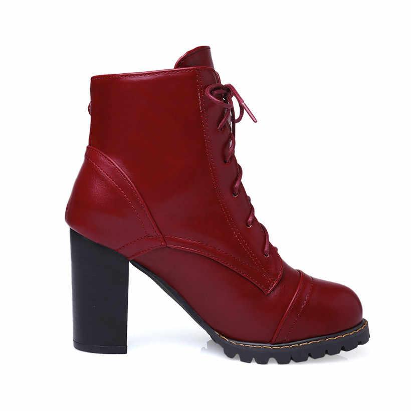 Büyük boy 47 kış bahar PU deri kadın yarım çizmeler kare tıknaz yüksek topuk yuvarlak ayak toka Lace Up peluş kısa martin çizmeler