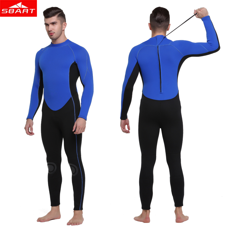 Sbart New Men 3mm Wetsuit neoprene Freediving spearfishing Blue Diving suit snorkel swimsuit one-piece Suits surf winte wetsuit sbart 303