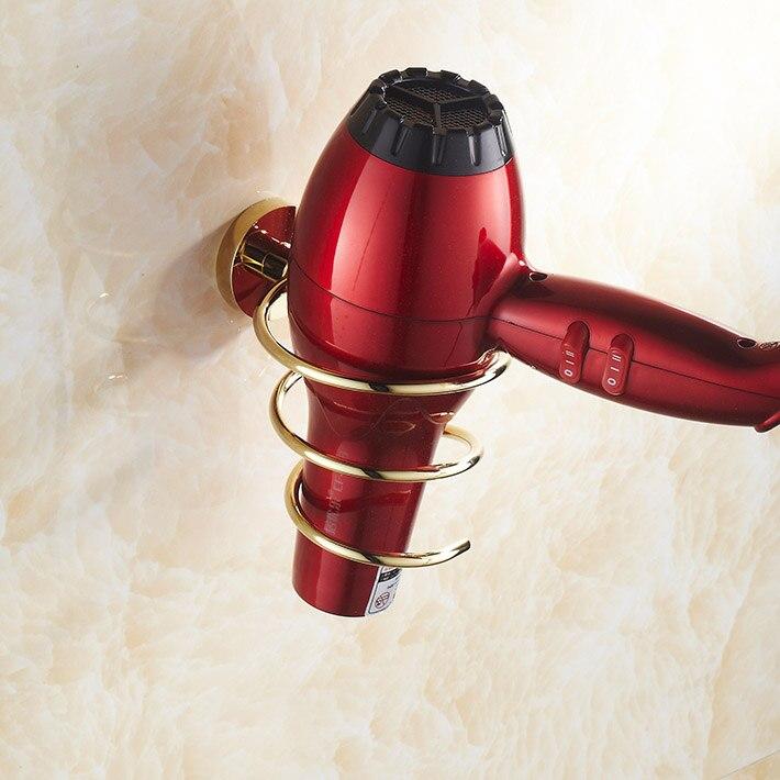 Golden brass Wall-mounted Hair Dryer Rack   Bathroom Wall Shelf Storage Hairdryer Holder for salon &hairdresser's