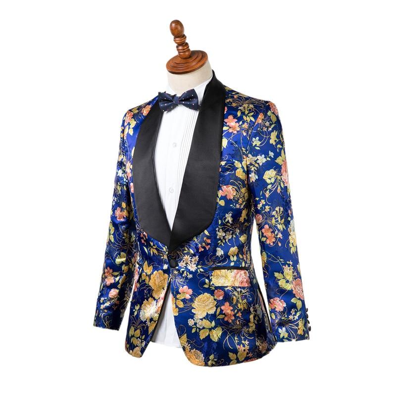 Gwenhwyfar Nuova Giacca Pantaloni Uomini di Disegno Smoking Elegante Blu Fiore di Stampa Slim Fit Sposo Smoking Giacca Da Sposa Abiti Del Partito-in Completi uomo da Abbigliamento da uomo su  Gruppo 2