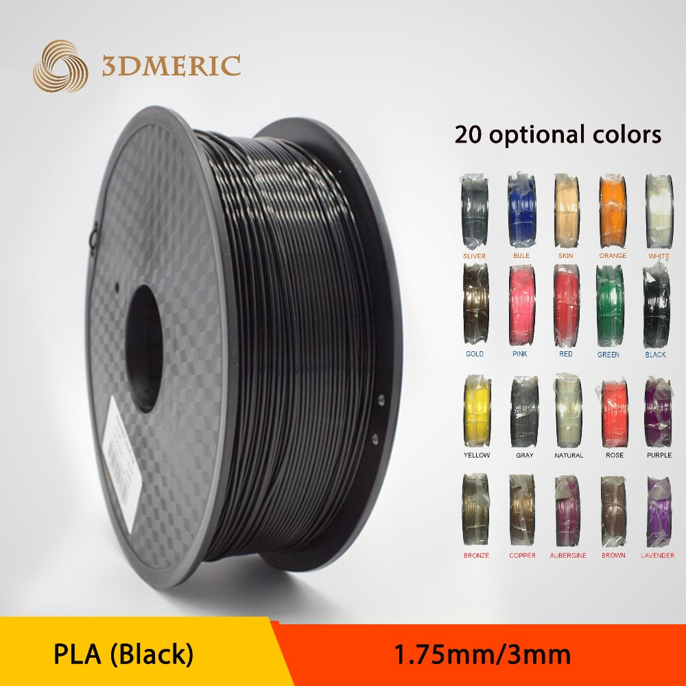2016 PLA 1KG 1.75mm Black Filament for 3D Printing Pen Printer Filament High Quality big size 220 220 240mm high quality precision 3d printer diy kit with pla filament 8gb sd card and lcd for free