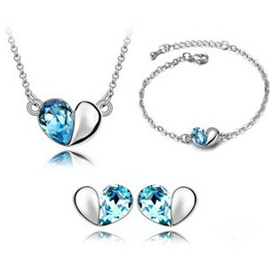 JS S011 Heart Jewelry Sets High Quality Wedding Jewelry Sets For Brides Nickel Free Crystal Jewelry Set