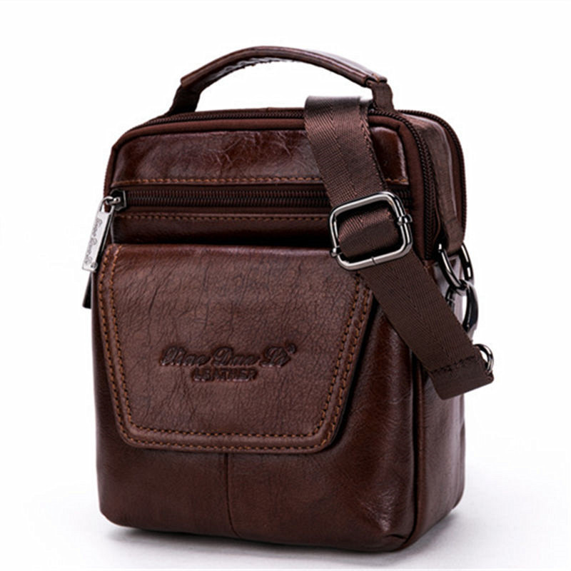 YIANG Men Vintage Casual Genuine Leather Bags Travel Messenger Bag Cross body Shoulder Bags Designer Cell Mobiles Phones Bags oil wax cowhide genuine leather single shoulder bag men vintage casual school cross body satchel designer male messenger bags