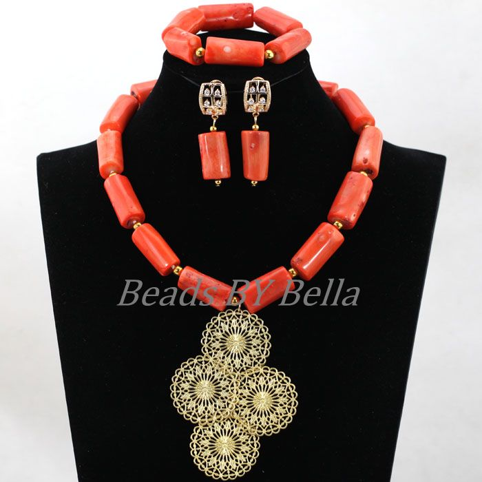 African Wedding Nigerian Beads Jewelry Set Bridal Jewelry Natural Coral Beads Jewelry Set Bridal Necklace Free Shipping ABL066African Wedding Nigerian Beads Jewelry Set Bridal Jewelry Natural Coral Beads Jewelry Set Bridal Necklace Free Shipping ABL066