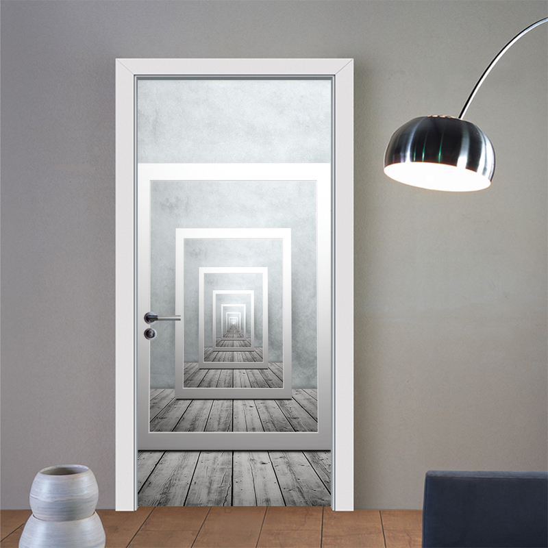 Creative Geometric Perspective Door Wall Stickers Waterproof PVC Poster Bedroom Living Room Home Decoration YMT020 in Wall Stickers from Home Garden