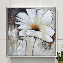 hand painted abstract canvas oil painting white grey flower wall art picture black hot sale decor
