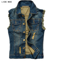 Vintage Design Men S Denim Vest Male Blue Color Slim Fit Sleeveless Jackets Men Hole Jeans