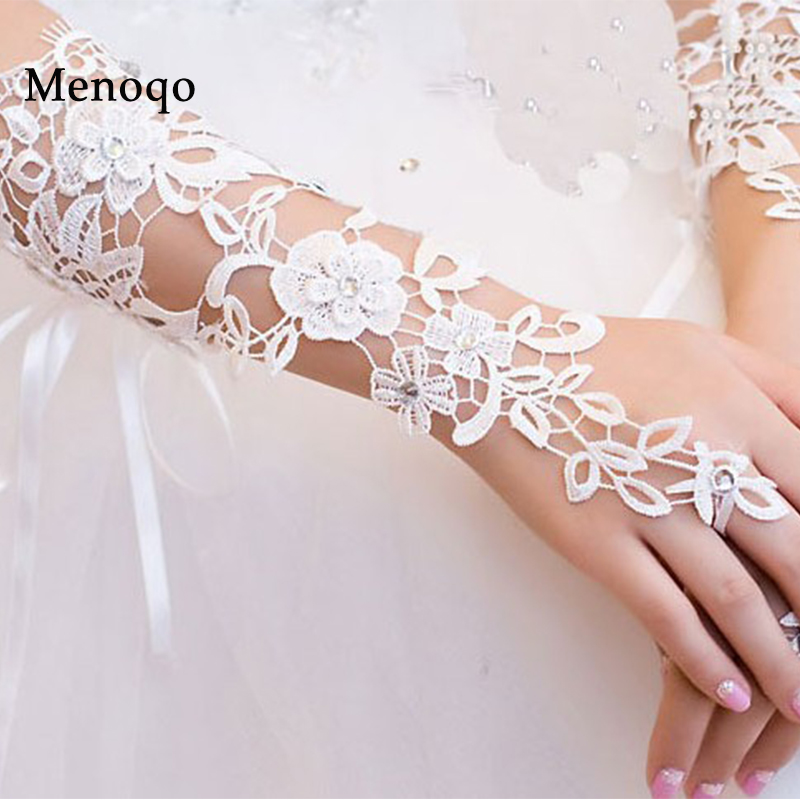 Stock Simple Bride Wedding Gloves Evening Fingerless Luva De Noiva Luva Lace Bridal Gloves Para Noiva Wedding Accessories