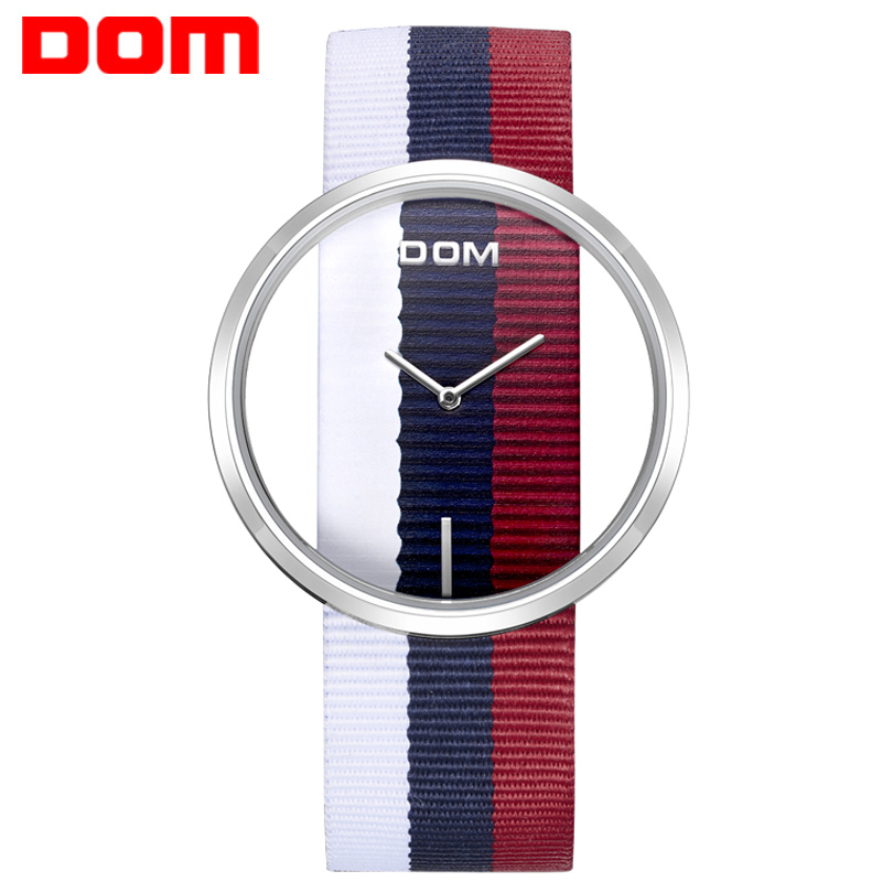 Women watches DOM brand luxury Fashion Casual quartz Unique Stylish Hollow skeleton watches Nylon sport Lady wristwatches   2M