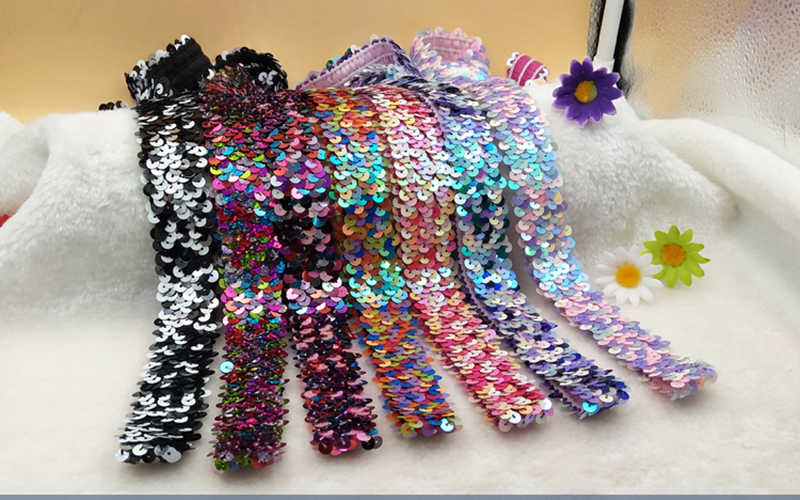 5Yards 3cm Pailletten Elastische Strech Spitze Stoff Band Gürtel Band Nähen Auf Kleidung Dance Kleid Schmücken Zubehör 8 farbe kann wählen