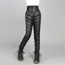 Moda crianças calças quentes inverno de cintura alta pato branco para baixo calça para adolescentes engrossar outerwear 6 8 10 12 14 15yrs