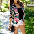 Primavera/outono Outerwear do vintage das mulheres Max marca Floral Impresso jaqueta blazer OL desgaste do trabalho Terno Casaco curto casacos Feminino