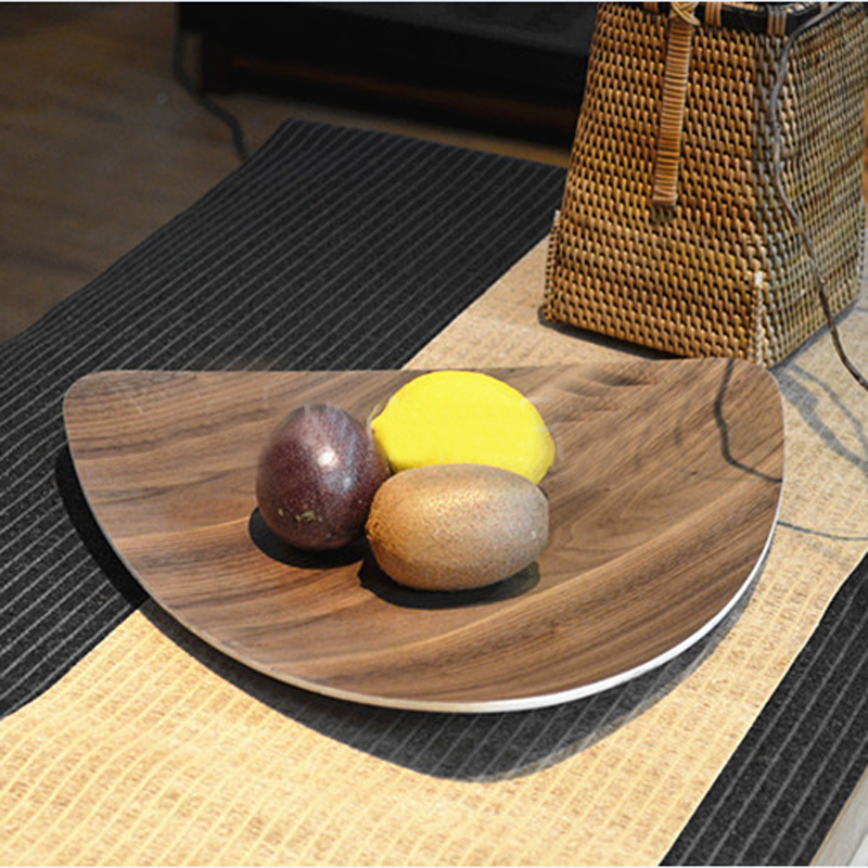 Solid wood dish plate food wooden tray with walnut for Cuisine wooden