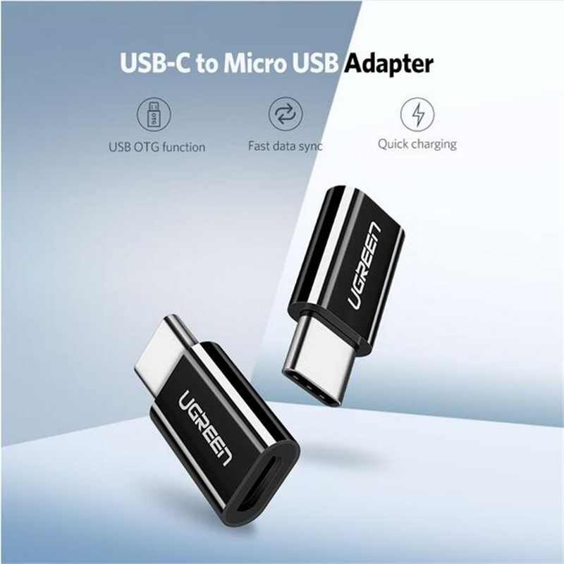 Ugreen Micro USB หญิงประเภท C ชายอะแดปเตอร์ชาร์จ Cable Converter สำหรับ Samsung S9 S8 Huawei SONY Xiaomi 9 USB C charger OTG