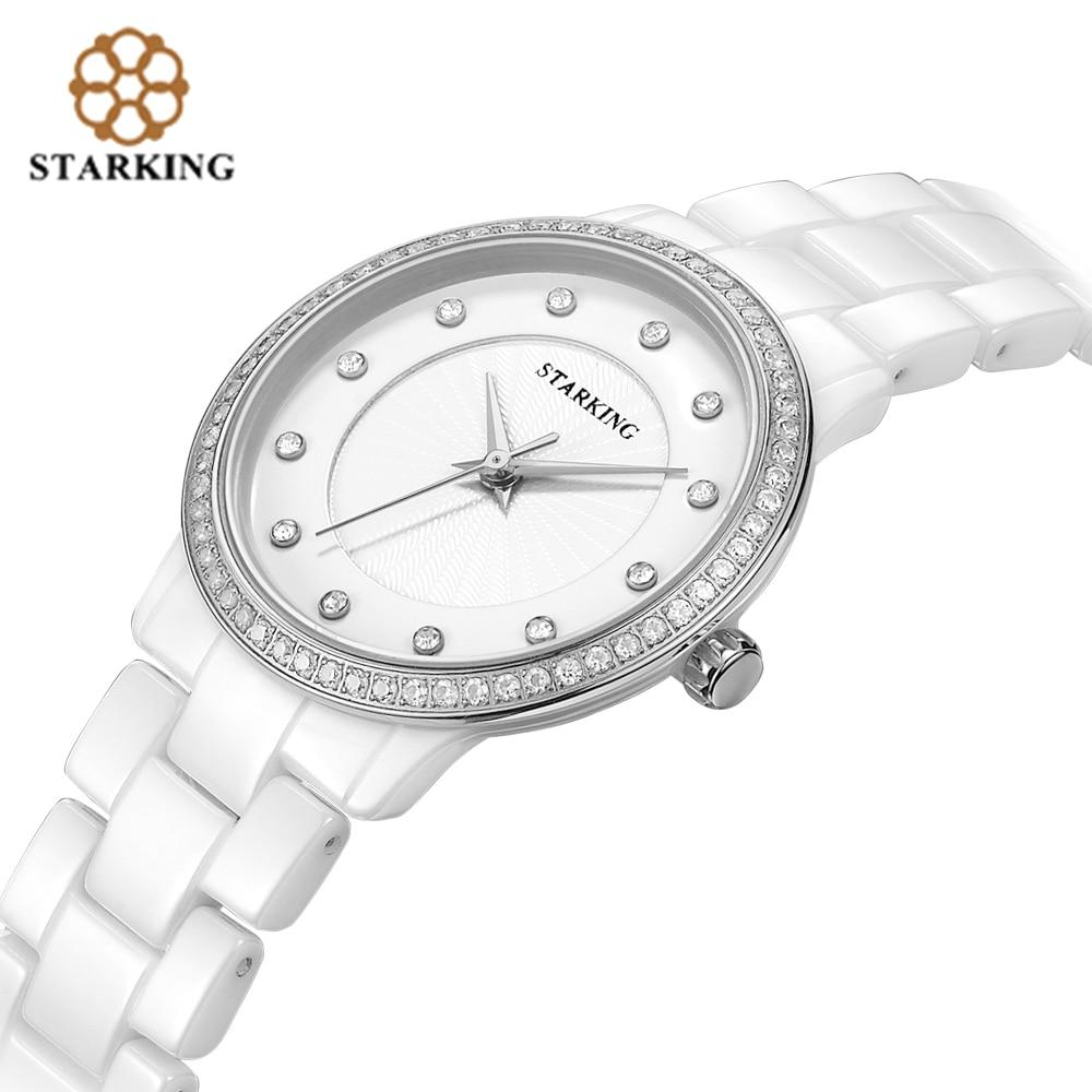 STARKING Official Women Ceramic Wrist Watch Geneva Ladies Diamond Rhinestone Quartz Watches Rose Gold Bracelet Watches Relogio цены