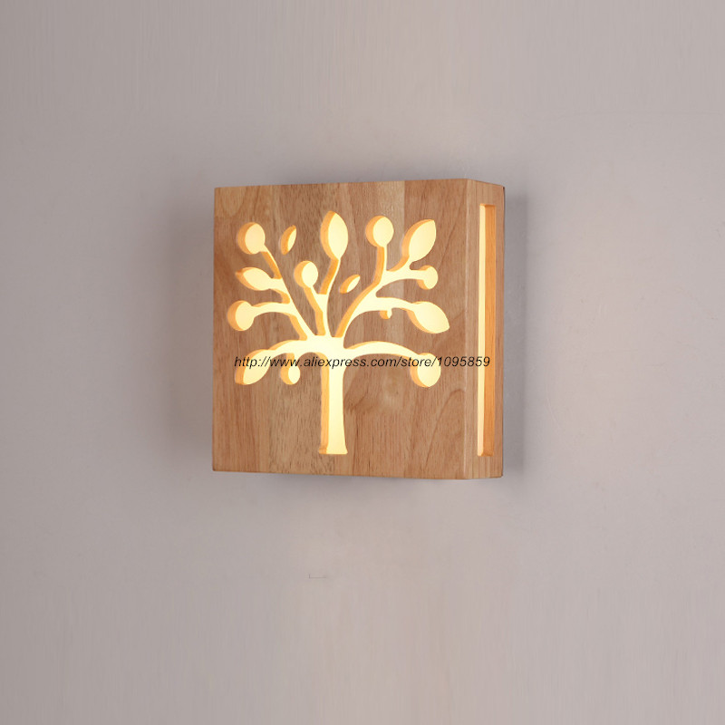 Modern Wood LED Wall Lamp Light Square Sconce Fixtures Lighting Apple Tree Bedroom Night Lights modern lamp trophy wall lamp wall lamp bed lighting bedside wall lamp