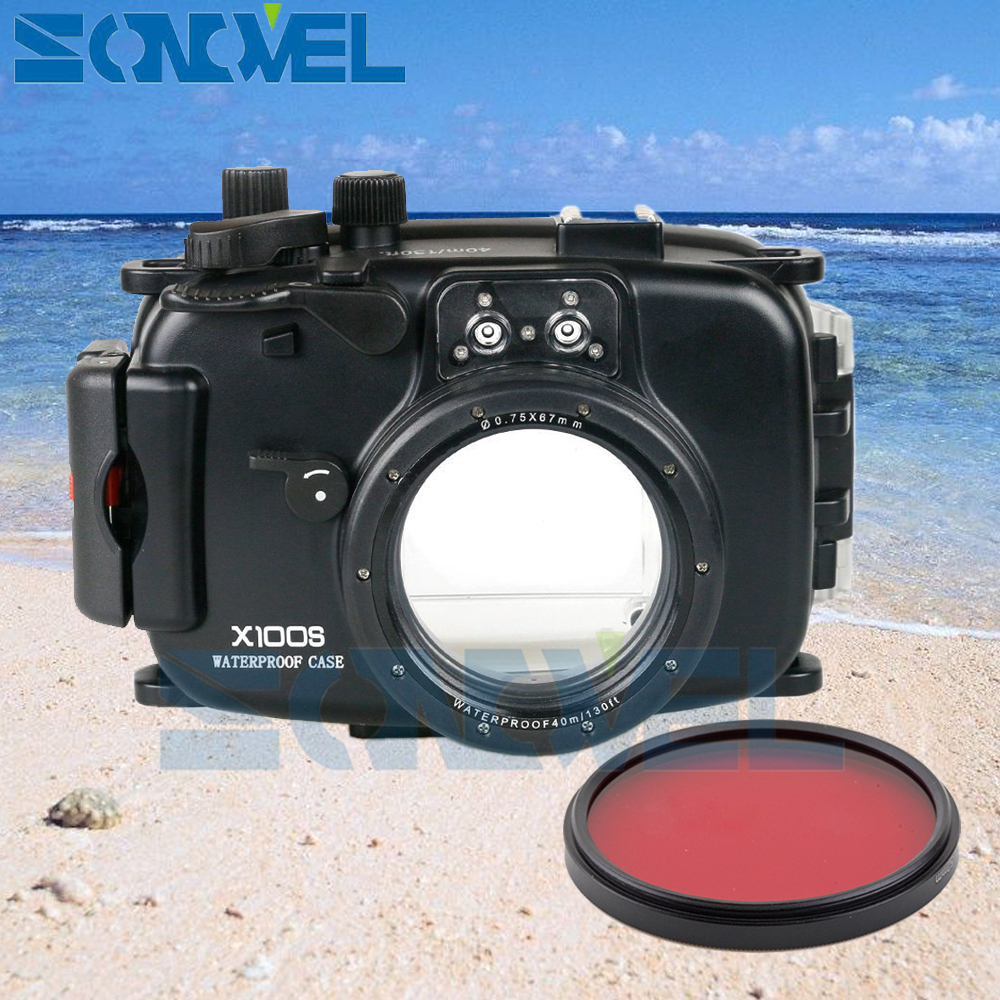 Meikon 40m 130ft Waterproof Underwater Diving Case Camera Housing Fujifilm X100s Iphone 5 Custom Hard For Fuji 67mm Red Filter In Video Bags From Consumer