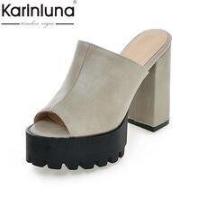 KARINLUNA Brand New Big Size 32-43 Peep Toe Woman Mules Pumps Platform Fashion Square High Heels Party Shoes Women