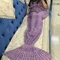 180*90 cm Del Cabrito Cama Manta Envolver Manta de Ganchillo Hecho A Mano de Punto de Cola de Sirena Sirena suave saco de dormir para Los Niños chica AY932387