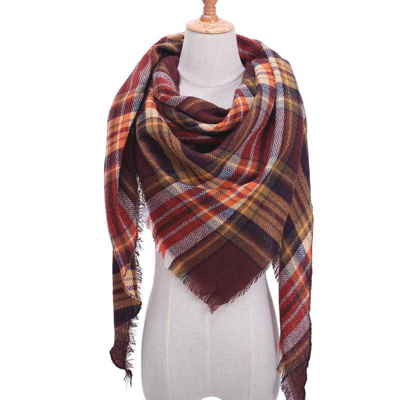 Бандана палантин платок на шею шарф зимний Дизайнер трикотажные весна-зима женщины шарф плед теплые кашемировые шарфы платки люксовый бренд шеи бандана пашмина леди обернуть - Цвет: b34