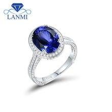 Luxury 18K White Gold Tanzanite Ring Oval 7x9mm For Wife Gift Good Quality Gemstone Fine Jewelry Luxury Diamond YWR0054