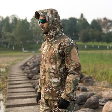 Outdoor Tactical Camouflage Men Jacket Coat Military Army Jacket Winter Waterproof Soft Shell Jacket Windbreaker Hunting Clothes(China)