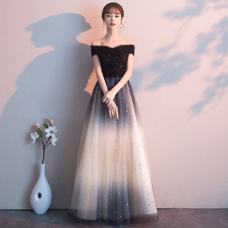 Annual Meeting Evening Dress Female 2019 New Banquet Long Section Sequin Gauze Fairy Hosted Temperament Lady Black Noble
