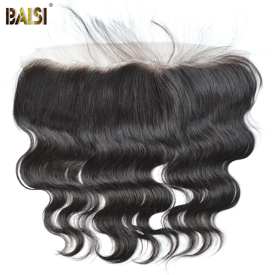 BAISI Lichaam Wave Peruaanse Maagd Haar Kant Frontale Maat 13 * 4, PrePlucked Natuurlijke Haarlijn Gebleekte Knopen Met Baby Haar 8-18 inch