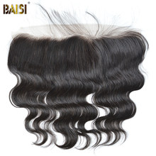 BAISI Hair Peruvian Body Wave Virgin Hair Swiss Lace Frontal Closure 13x4 Pre-Plucked Natural Hairline(China)