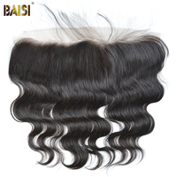 BAISI Body Wave Peruvian Virgin Hair Lace Frontal Size 13*4,PrePlucked Natural Hairline Bleached Knots With Baby Hair 8 18inch
