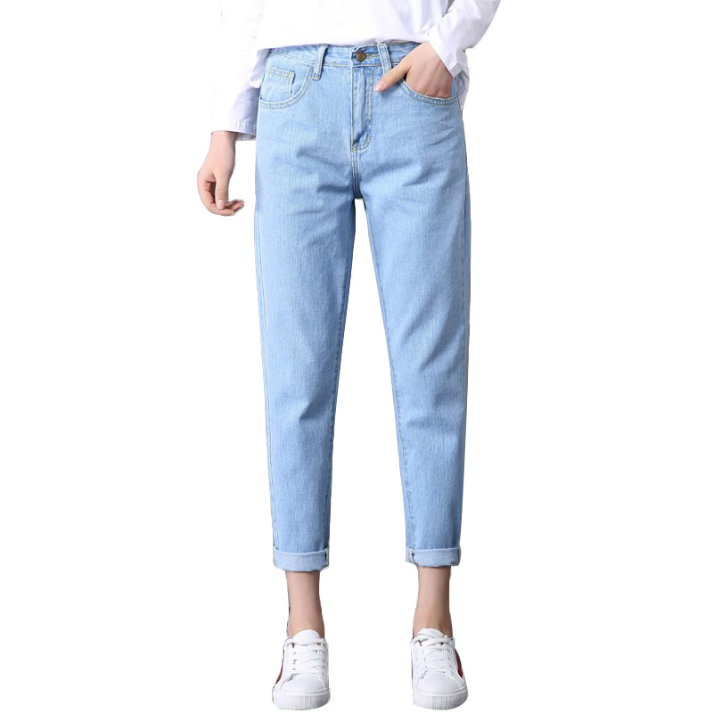 2018 Winter Ladies With High Waist Mom Female Boyfriend   Jeans   For Women Trousers Blue Pants Ripped   Jeans   Woman Loose Plus Size