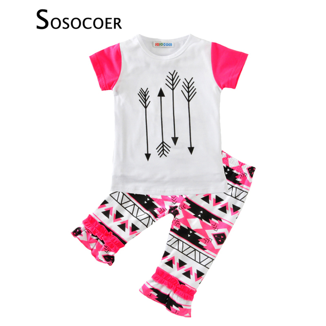 cecba1dba SOSOCOER 2017 Summer Baby Girls Clothing Sets 2 Pcs T Shirt   Pants ...