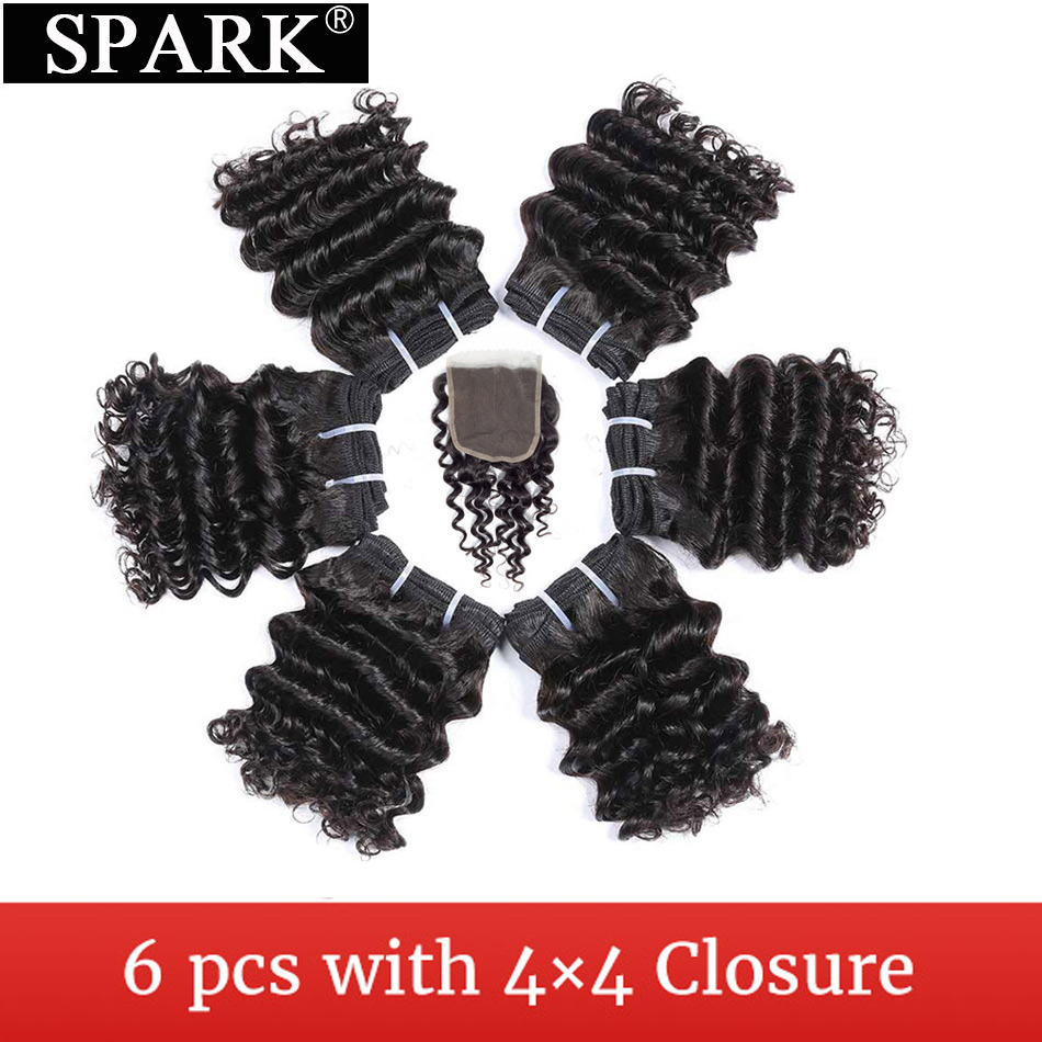 SPARK Brazilian Deep Wave Short Cut 6 Inhces 6 Bundles With Closure Can Make A Human