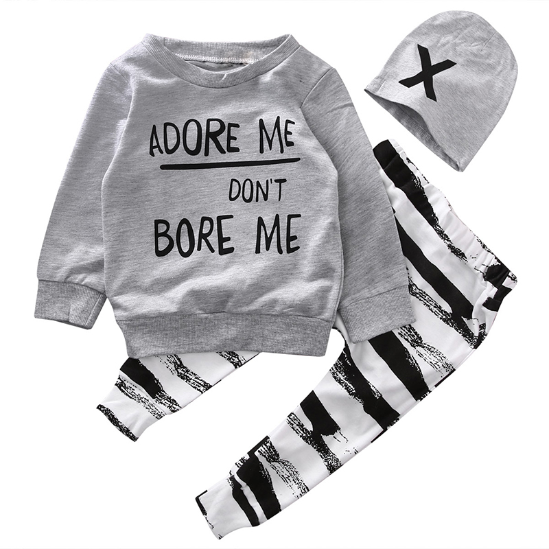 Children Clothing Sets 2017 Newborn Baby Boy Girls Cotton Long Sleeve Tops Striped Long Pants Cute Hat 3PCS Outfits Set Clothes