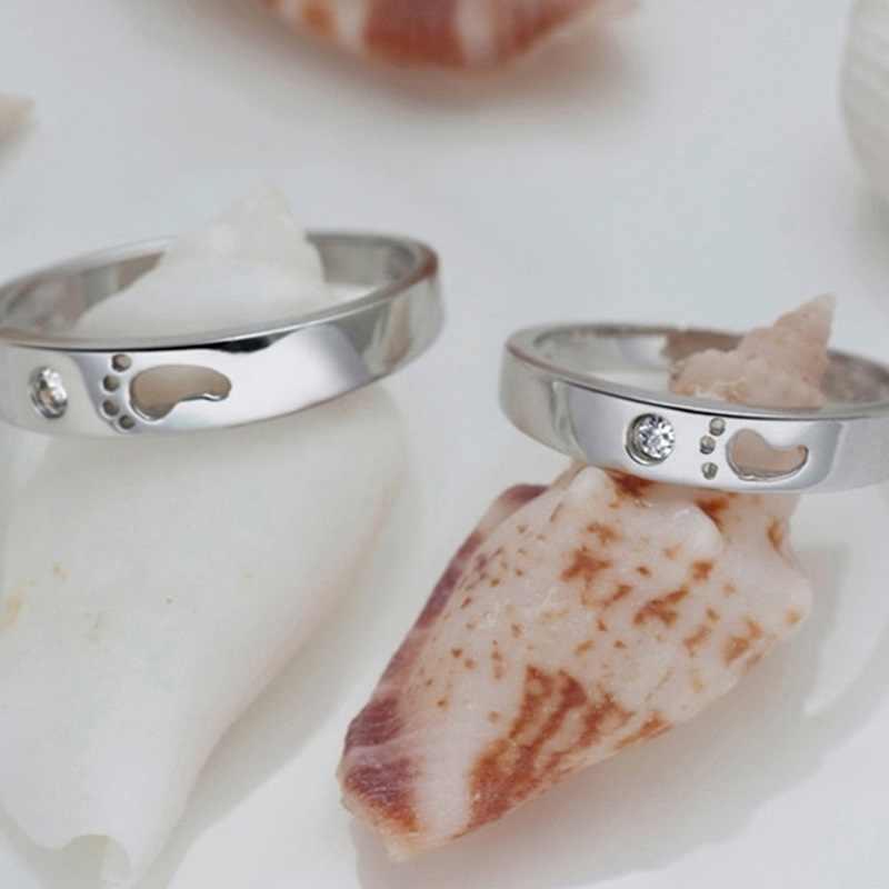OMHXZJ al por mayor moda europea mujer hombre fiesta boda regalo blanco amantes pies AAA circón 925 anillo de plata de ley RR172