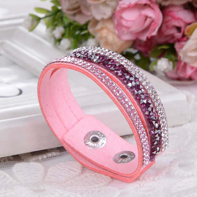 Leather Crystal Stone Cuff Bracelets for Women Fashion Jewelry 2018 Wholesale Rh