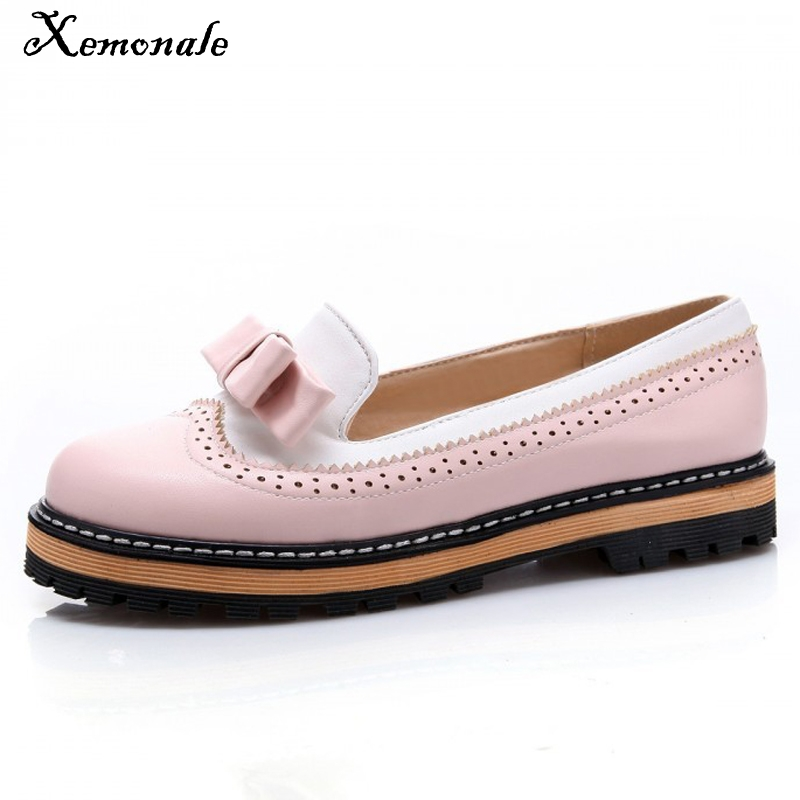 Xemonale Bowtie Women Oxford Shoes 2016 Platform Brogue Shoes Woman Casual Creepers Sweet Patchwork Oxfords Slip  Flats XWD3421 qmn women crystal embellished natural suede brogue shoes women square toe platform oxfords shoes woman genuine leather flats