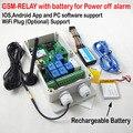 Frete grátis 1 pcs Sete Interruptor do Relé de Controle Remoto Sem Fio GSM caixa de bateria Recarregável para desligar o alarme