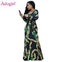 Adogirl Trendy Gold Chain Print Long Sleeve Maxi Dress Plus Size S 3XL Boydcon Robe Long
