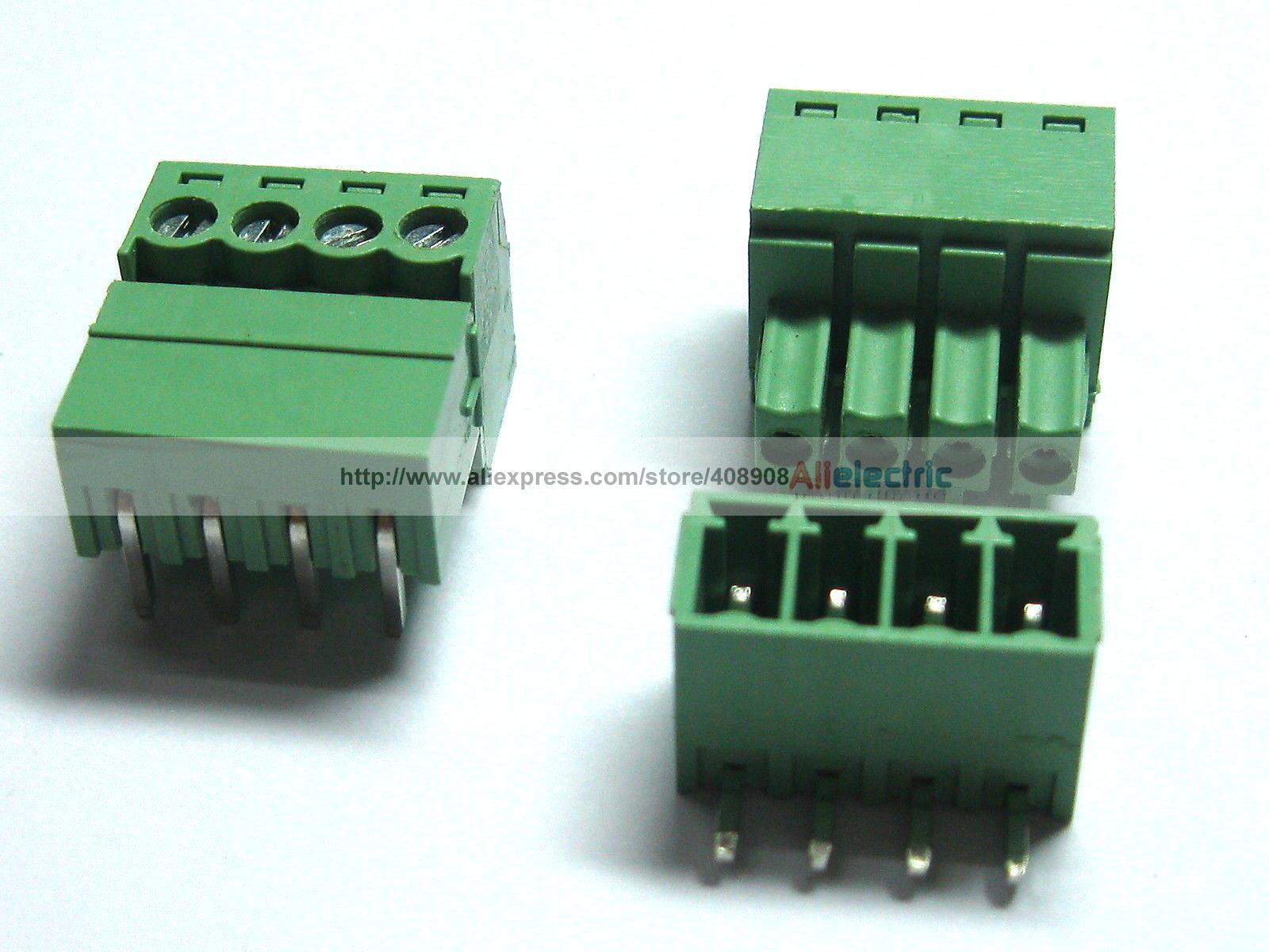 150 Pcs/lot 4pin  Screw Terminal Block Connector 3.5mm Angle 4 Pin Green Pluggable Type
