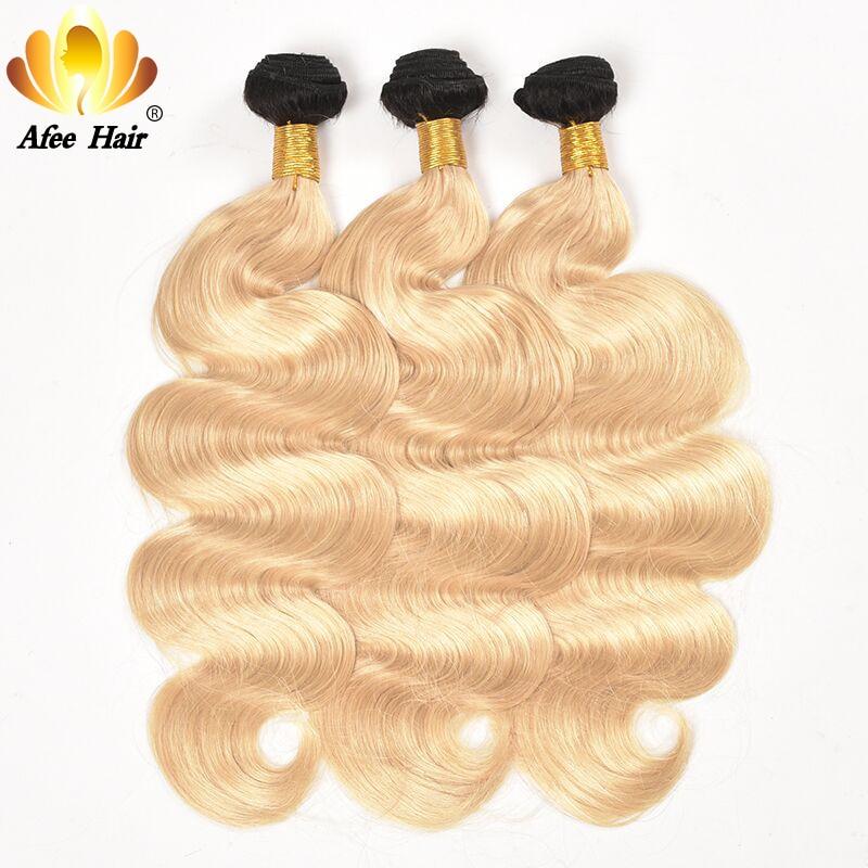 Aliafee 1b 613 Ombre Hair Bundles Brazilian body wave Remy Hair Weave 3 Bundles Deal Blonde