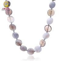 Di alta qualità collana di pietra naturale grigio pietra collana oblate coin forma semi-preziose perle di pietra gioielli