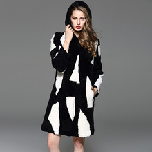 Black White Plaid Women Coats Colorful Sheep Fur Ladies Genuine Long Leather Clothing With Hat Thickening Real Fur Coat FC002