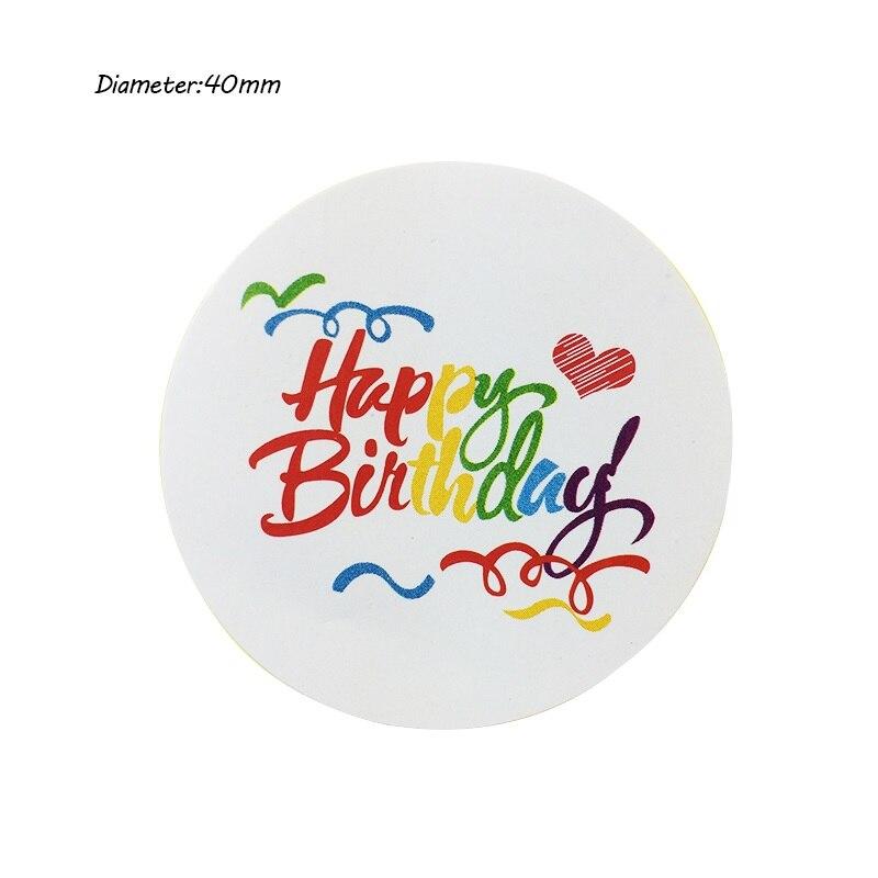 500 шт./лот Винтаж радуги с днем рождения серии круглый дизайн крафт печать наклейки diy самоклеящиеся примечание подарок этикетки