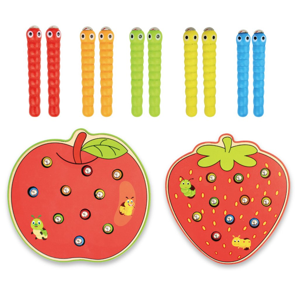 Apple Strawberry Kids Wooden Toys Catch Worms Games With Magnetic Stick Montessori Educational Creature Blocks Interactive Toys