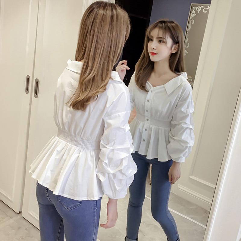 Spring Autumn Long Lantern Sleeve White Blouse Women Cute Reveal Collarbone White Shirt Elastic Waist Ladies Ruffle Peplum Tops in Blouses amp Shirts from Women 39 s Clothing
