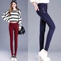 Plus Size Mulheres de Corpo Inteiro Cintura Elástica Doce Cor Estiramento Calças Lápis Causal Meados Cintura Zíperes Leggings Calças Para Mulheres